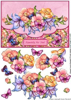 FLORAL ENVELOPE FLAP CARD Especially for You on Craftsuprint designed by Susan Murdoch - Envelope flap style card with step by step layers. Suitable for any occasion - 'Especially for You' on panel, meaning you can use it for anything! - Now available for download!