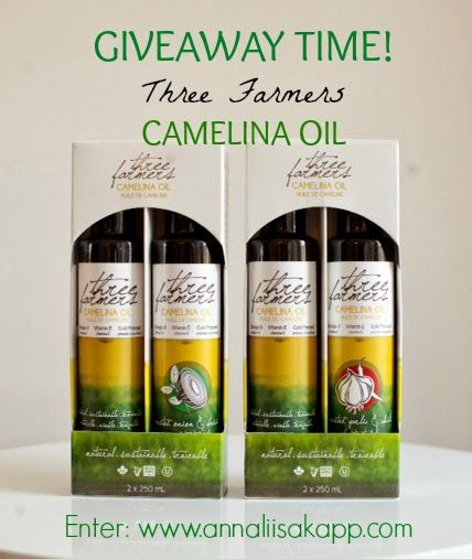 Super oil GIVEAWAY: camelina oil by Three Farmers is high in healthy omega 3 fatty acids and vitamin E, it also has a long shelf life and high smoke point (unlike other omega 3 rich oil) Enter for your chance to win a gift pack valued at $45!