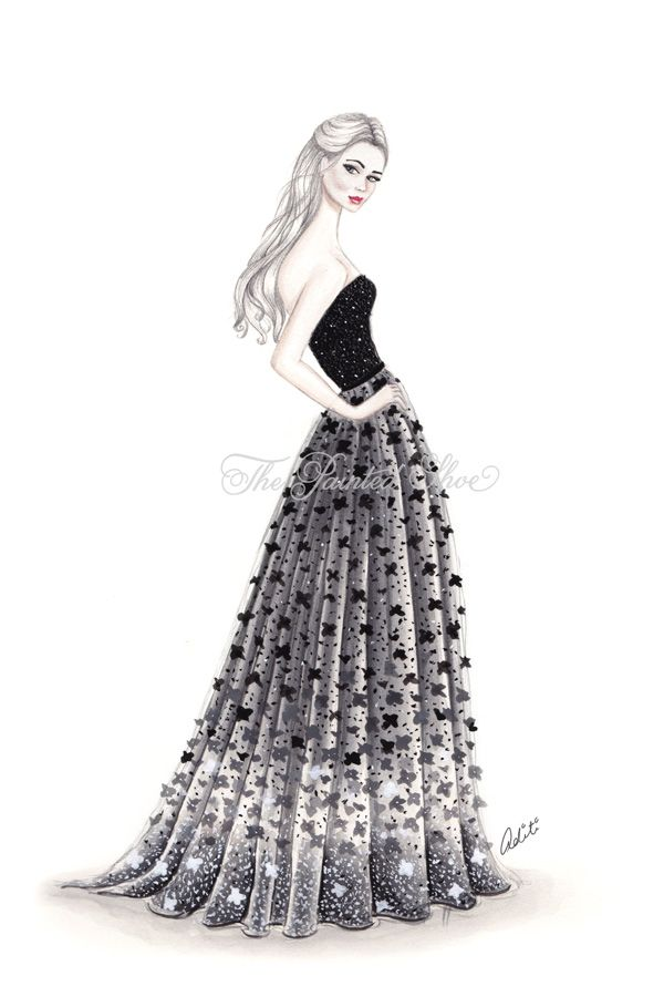 Elie Saab Lace Gown Fashion Illustration by Aditi Dokania ~ ThePaintedShoeArt