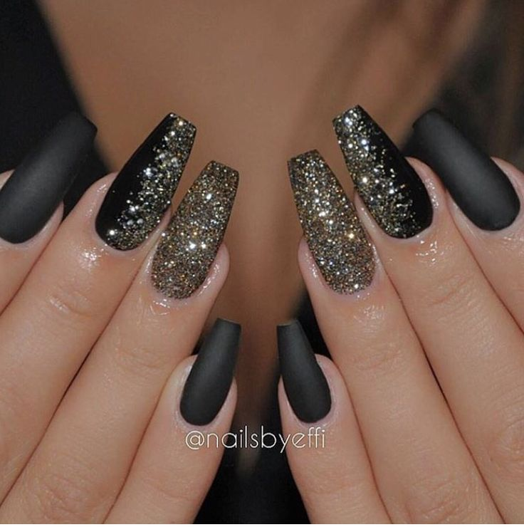 cool Black and gold glitter New Years Eve Coffin Nails...