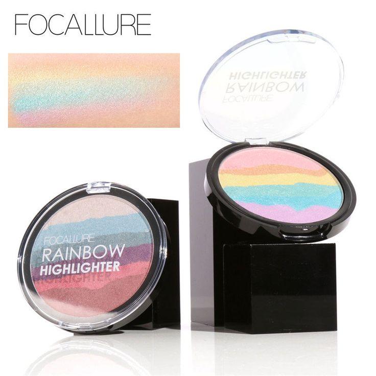 Focallure pro diy rainbow highlighter powder palette bronzer contour mineral lembut wajah highlighter makeup palette kit