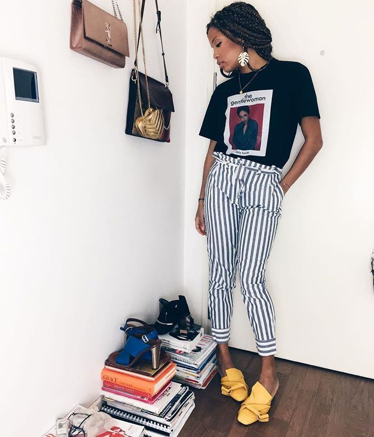 30 Perfect Looks To Copy This June - One earring instead of two, always.  Mango pants, No.21 shoes.  #refinery29