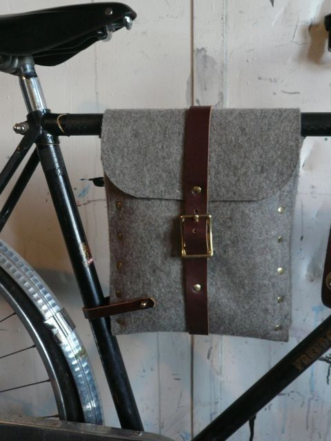 felt and leather bicycle bag. $180.00, via Etsy.