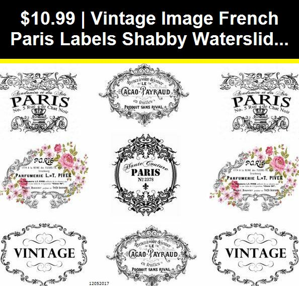 VinTaGe IMaGe FRenCh LaBeLs SHaBbY WaTerSLiDe DeCALs
