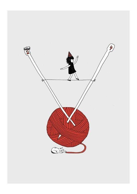 yarn girl knitting Woolwalker Print 8 x 115 by teconlene on Etsy #etsy #etsyitaliateam