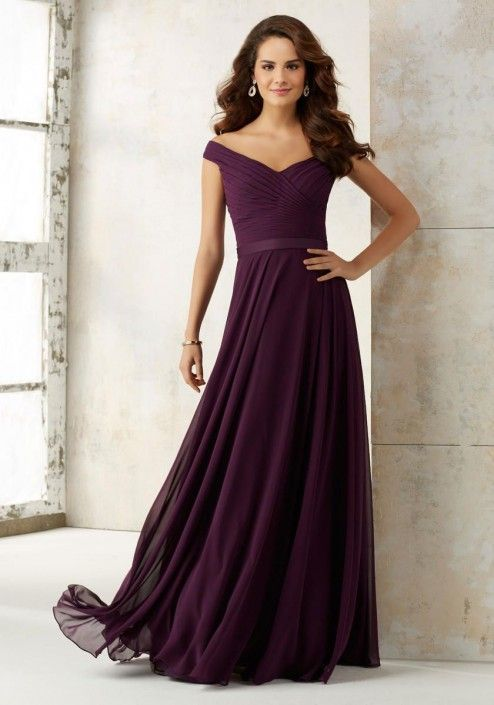 Size 6 Eggplant Morilee 21523 Off Shoulder Bridesmaid Dress