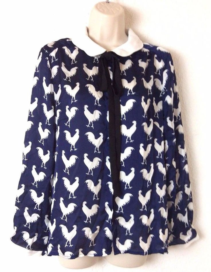 Sinty Womens Tie Neck Blouse Size 40 US10 Navy Blue White Rooster Print  #TabaoWuFangFei #CollarBlouse