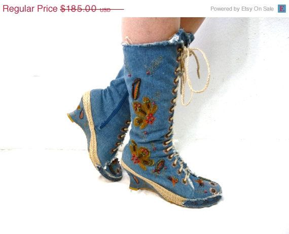 ON SALE Embroidered Boots Hippie Boho Blue by KMalinkaVintage