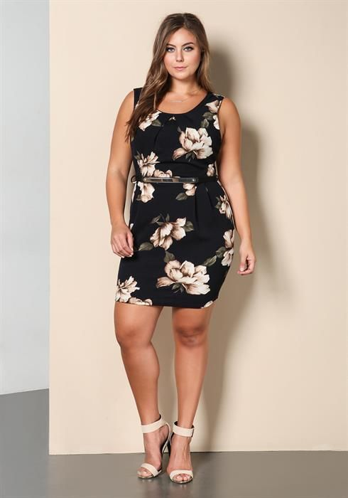Plus Size Floral Belted Dress
