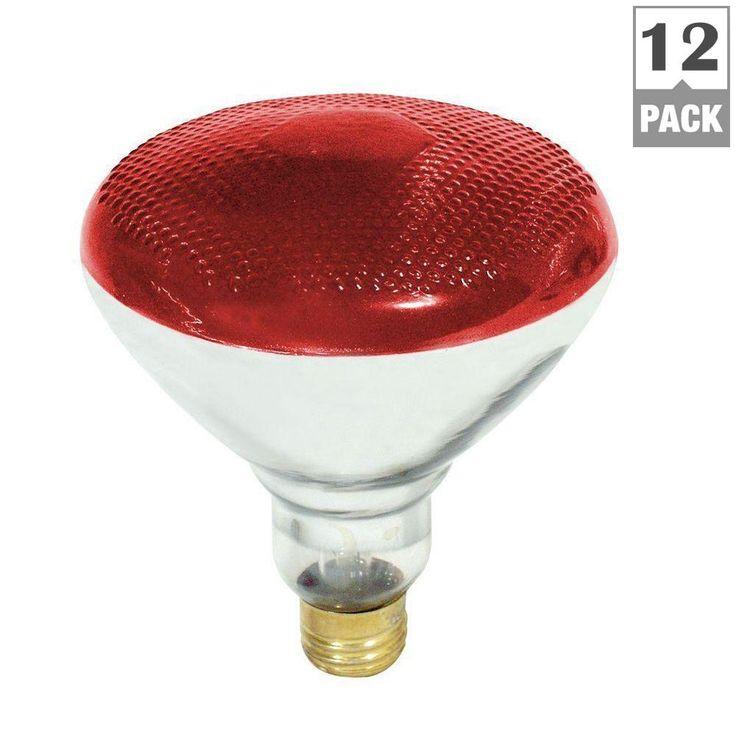 100-Watt Incandescent PAR38 Red Light Bulb (12-Pack)