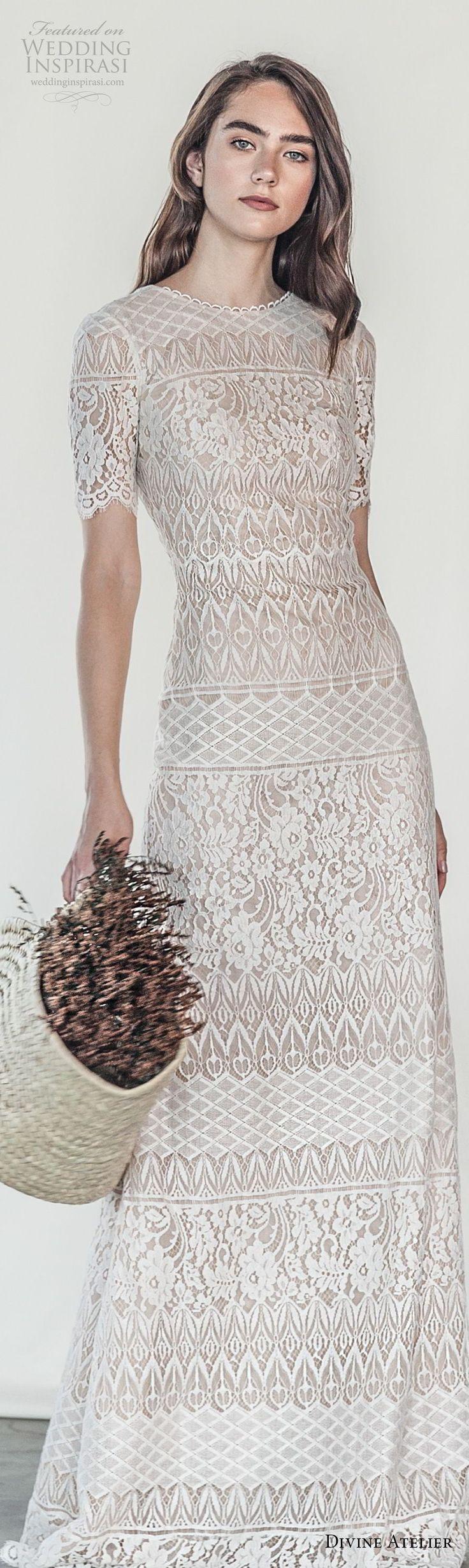 divine atelier 2018 bridal short sleeves jewel neckline full embellishment elegant sheath wedding dress v back sweep train (3) lv -- Divine Atelier 2018 Wedding Dresses