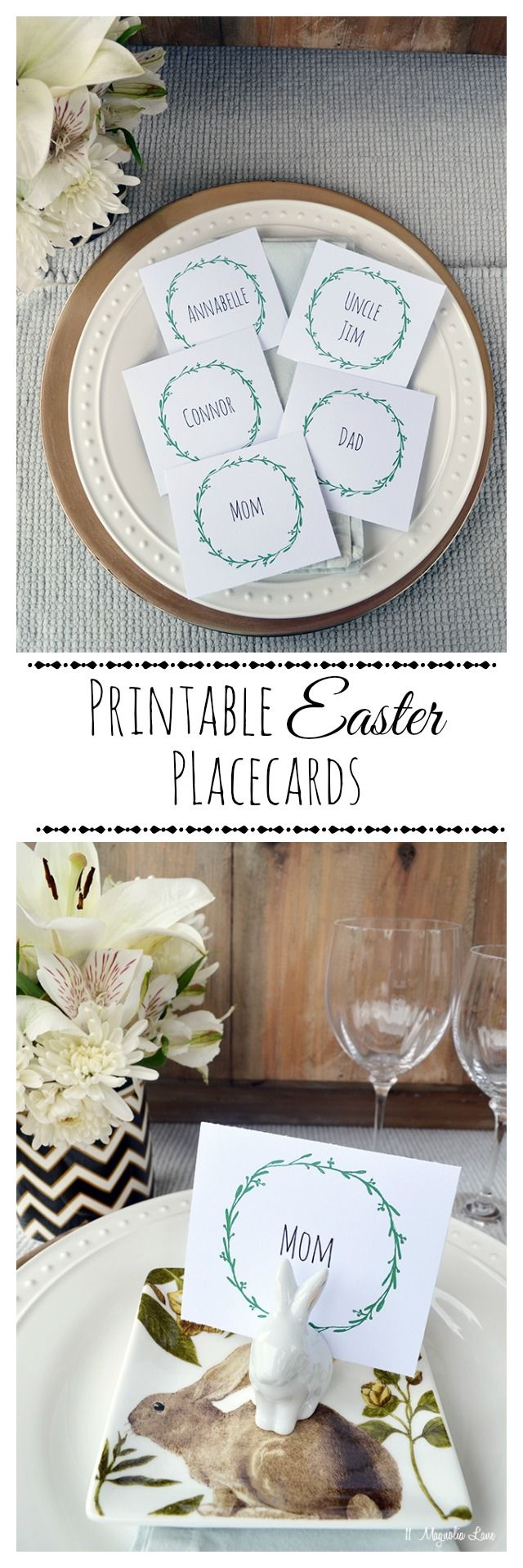 Free printable wreath place cards are perfect for your Easter (or other holiday) table.  Print on heavy white cardstock and cut into squares; you can also add text using photo editing software (Animatic Small Caps font is a good choice).