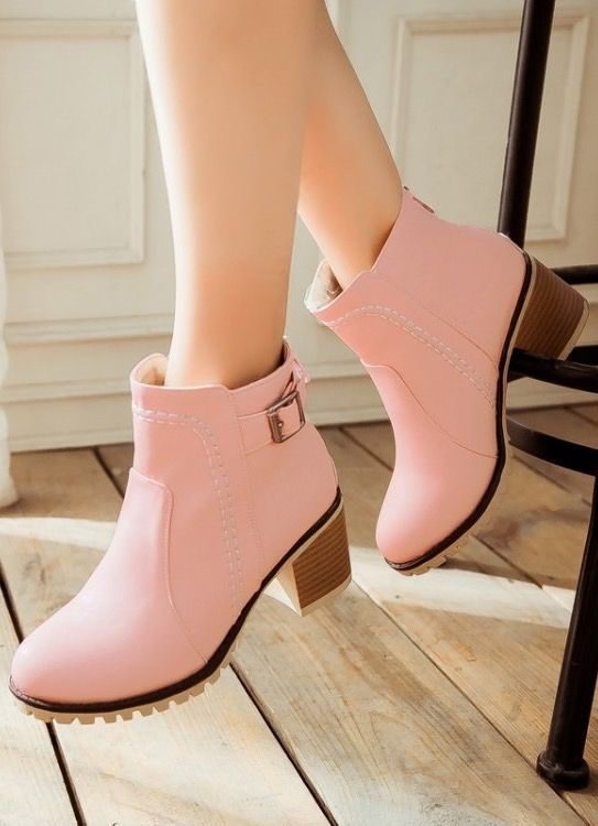 Pink ankle boots, so sweet! http://www.luulla.com/product/481741/women-s-pure-color-thick-heel-with-back-zippers-buckle-short-martin-boots