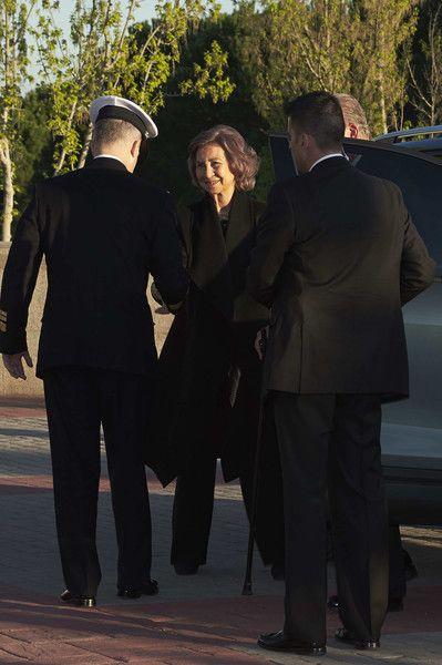 Queen Sofia attends a funeral chapel for Alicia de Borbon Parma, Duchess of Calabria, at La Paz morgue on March 28, 2017 in Madrid, Spain.