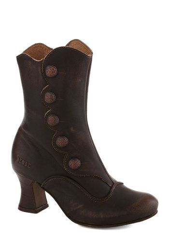 Quite the Parenthetical Heel - Brown, Solid, Buttons, Steampunk, International Designer, Mid, Leather, Best, French / Victorian