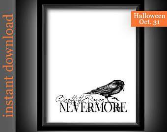The Raven Printable, Quoth The Raven, Nevermore, Edgar Allan Poe, Goth decor, goth print, goth wall art, black and white, Halloween decor