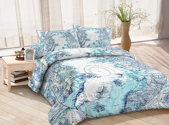 Blue map bedding set blue ancient map duvet cover map bed for Matching bedroom and bathroom sets