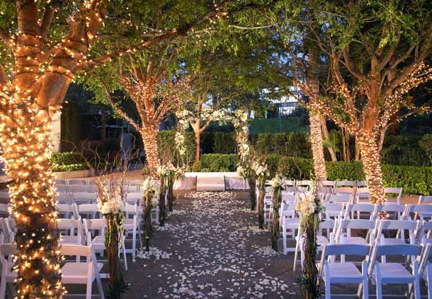 Des guirlandes lumineuses sur les troncs des arbres pourront éclairer votre cérémonie laïque de nuit