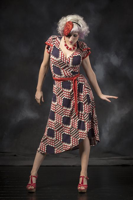 Tokyo Rose Wrap Dress - Zigzag/Pumpkin. Purchase: http://sprinkleemporium.bigcartel.com/product/tokyo-rose-wrap-dress