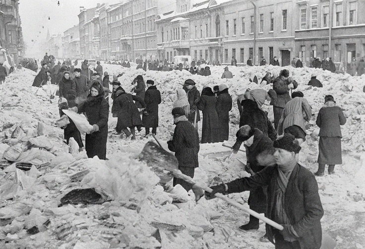 """""""Citizens of Leningrad cleaning rubble from a street"""", by Vsevolod Tarasevich, Russia, 8 March 1942"""