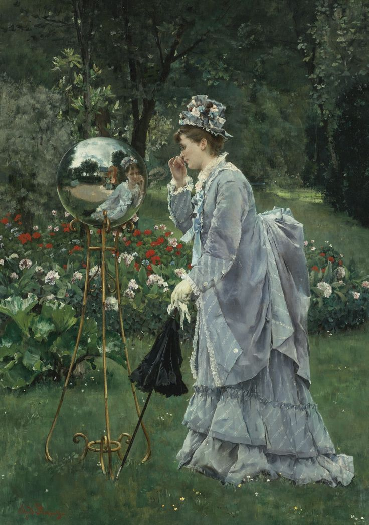 """""""La Boule de Verre"""" by Alfred Emile Stevens. Undated (exhibited at Ecole des Beaux-Arts, Paris, in 1900), oil on canvas. Set for auction 6Nov2014 at Sotheby's, NYC. Pre-auction estimate: $250,000-$350,000USD. Really like the detail of the reflection in the gazing ball. Price realized: $557,000USD."""