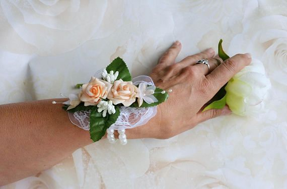Peach rose corsage, prom corsage, wedding corsage, mother of the bride corsage.  Click through to my shop