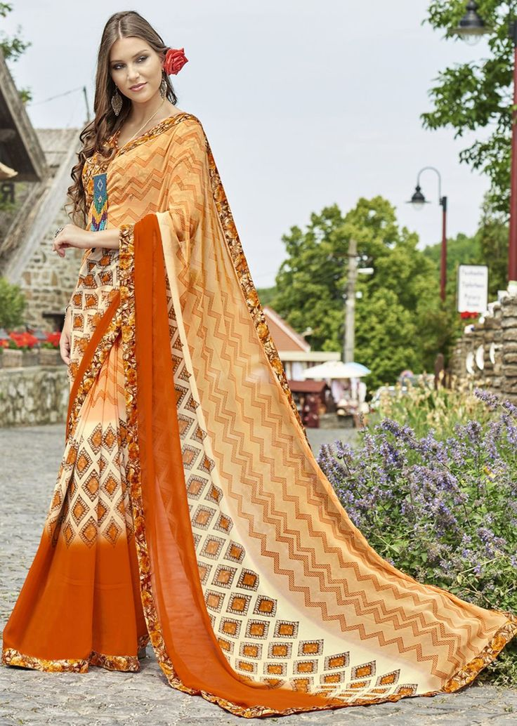 Orange and Beige Faux Georgette Traditional Printed Saree. Shop Now: https://goo.gl/LH5DuW