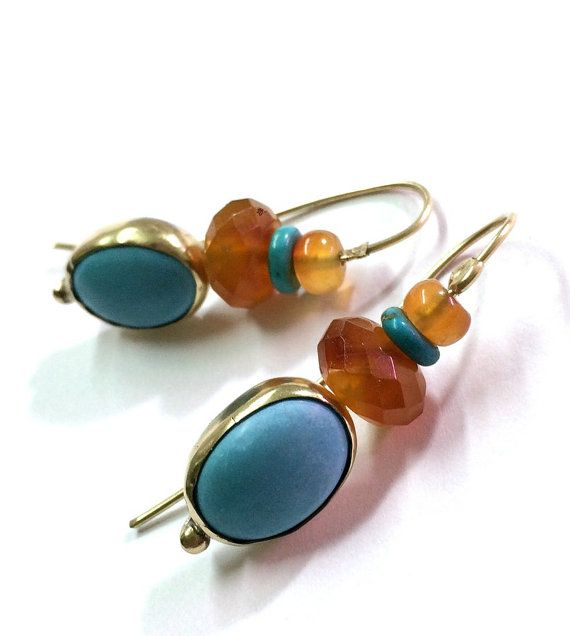 Gold and Turquoise earrings Gold Dangle Earrings Solid by OritNaar