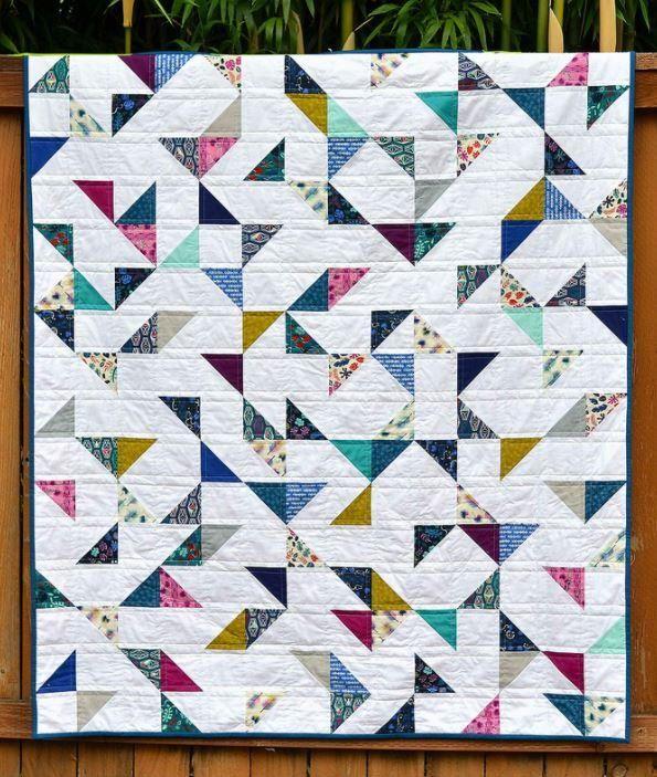 Lagoon Hst Lap Quilt Charm Square Quilt Triangle Quilt Lap Quilts