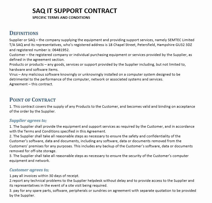 It Service Contract Template In 2020 Contract Template Pamphlet