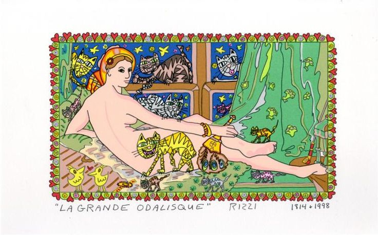 "James Rizzi (American, 1950-2011). ""La Grande Odalisque [after Ingres]"". Color silkscreen and lithograph. 1998. Signed in pencil, LR; titled and dated in the plate. n. Provenance: Estate of a private collector, New York City (Manhattan), acquired directly from the artist. A rare ""flat-print"" proof for a proposed ""3-D"" edition, not intended for sale or distribution. Rizzi. a Brooklyn pop artist who while at the U.of FL he came up with the idea of 3D multiples now mostly associated with his…"