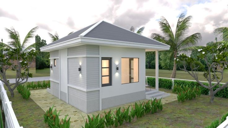 Small House Plans 6x6 With One Bedroom Hip Roof In 2020