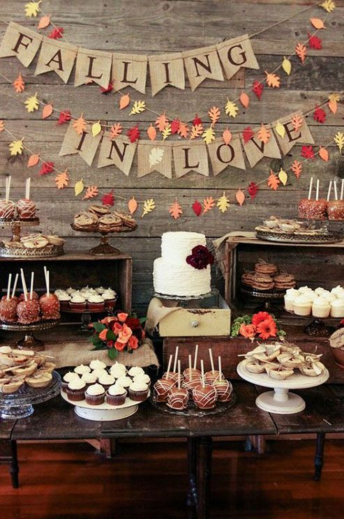 We are falling in love with this fall wedding dessert table!