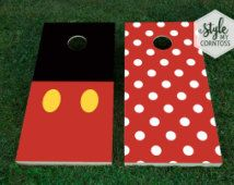 Cornhole Set | Mickey & Minnie | Mouse | Mice | Disney | Black | Red | Polka Dots | Party Game | Baggo | Corntoss