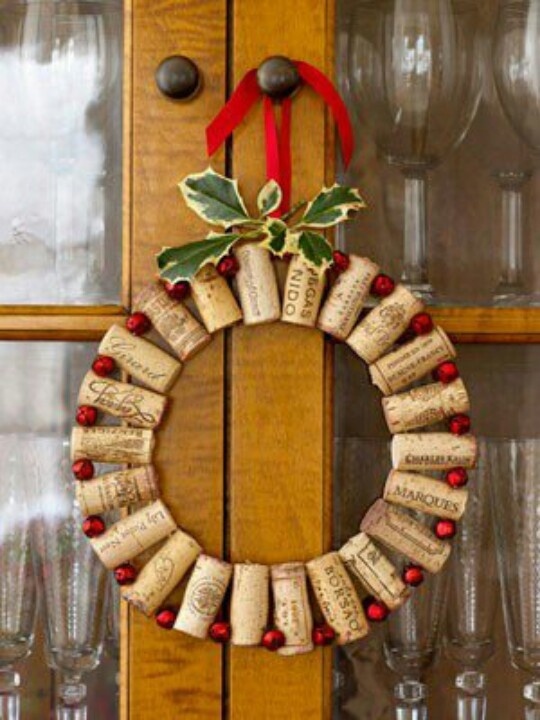 Christmas wine cork wreath.