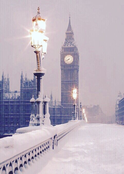 "Westminster Bridge, Houses of Parliament ""Big Ben"" in the snow.  Mona Mina"