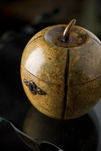 rare late-18th-century fruitwood tea caddy has a ripe patina