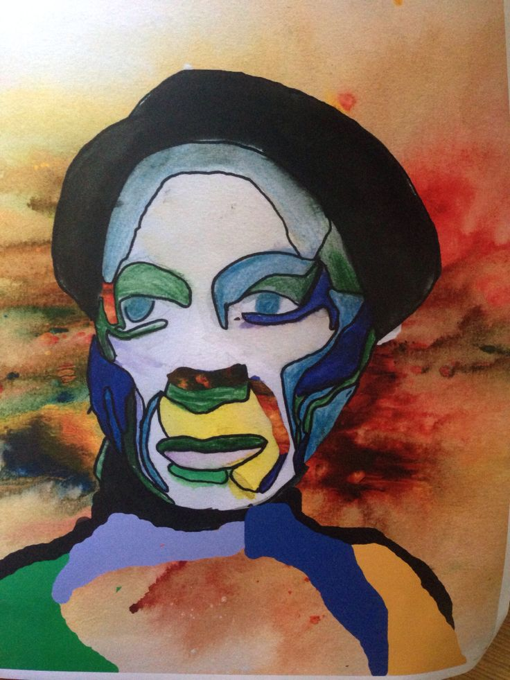 """Year 7 and 8, water colour pop and and monoprint photoshop """"Picasso"""""""