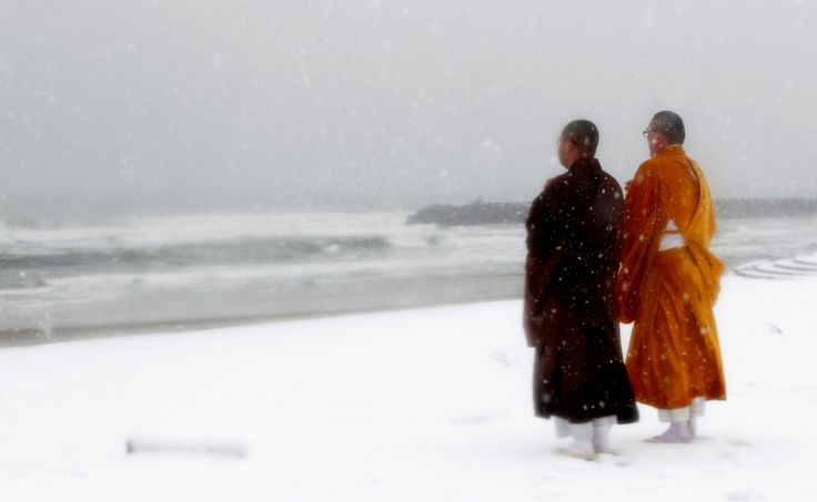 Japan: Nuclear winter  A day ahead of the one year anniversary, buddhist monks offer prayers for victims of the earthquake and tsunami at Kitaizumi beach in Minamisoma, some 25 km (15 miles) from the crippled Fukushima nuclear power plant. REUTERS/Yuriko Nakao