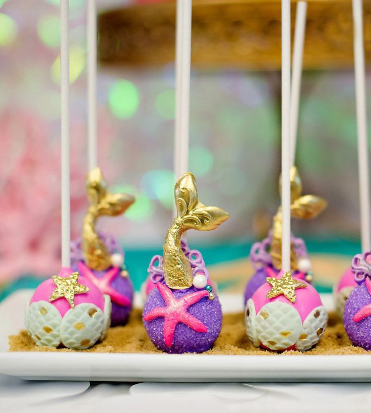 Amazing Mermaid Cake Pops! Gold mermaid tails, hot pink and gold starfish, purple shimmer