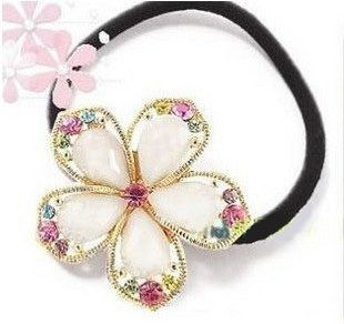 Great-shaped colored crystal flower hair ring plated elegant gold beloved woman hair circle