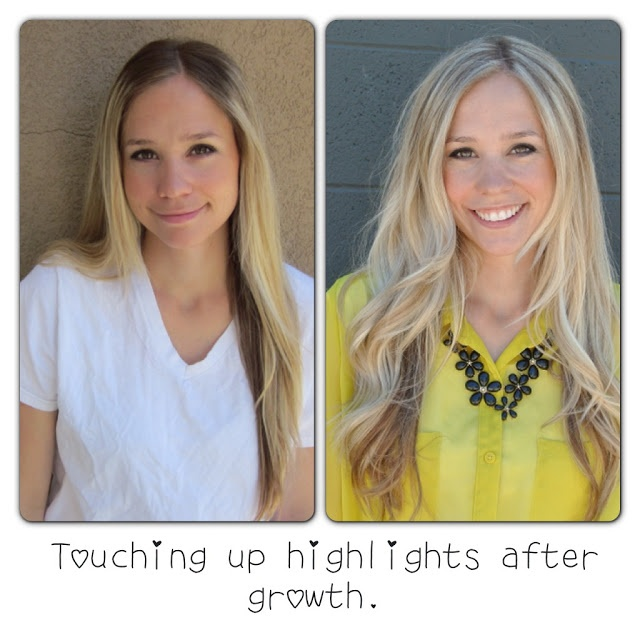 Diy Highlights Before And After Touching Up Roots At