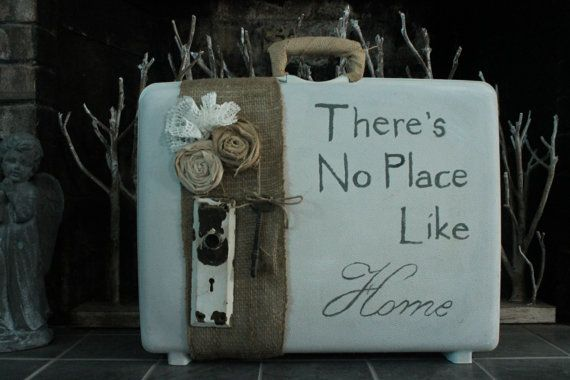 Painted Vintage Suitcase by WhiteBarnCreations on Etsy