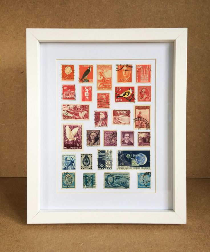 Vintage Framed Stamp Wall Art - Rainbow by Bettyandbetts on Etsy