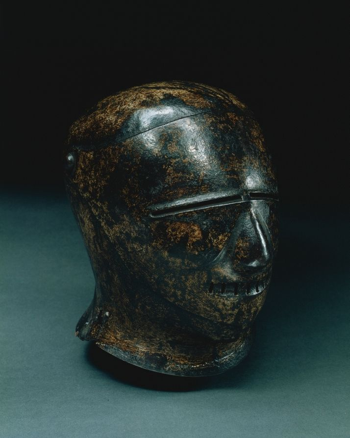 Closed Sallet with Grotesque Face (Schembart visor), c. 1500 Germany, Nuremberg, early 16th Century painted steel, Overall - h:27.30 w:25.70 d:22.20 cm (h:10 11/16 w:10 1/16 d:8 11/16 inches) Wt: 2.40 kg
