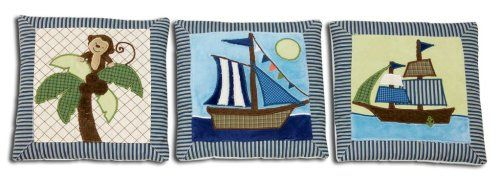 $23.99-$23.99 Baby NoJo Ahoy Mate 3 Piece Wall Hanging Set - NoJo Ahoy Mate 3 Piece Wall Hanging SetShiver me timbers with this pirate inspired infant bedding collection. NoJo Ahoy Mate 3 piece wall hanging set features three square appliqu?d square pictures. This features the monkey in palm tree, and two different ship scenes. Delightful colors in blues, browns, tans, green, and ivory.Features  ...