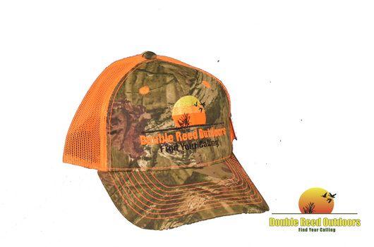 Double Reed Outdoors℠ Baseball Cap Mossy Oak Camo / Blaze Orange Mesh Back,