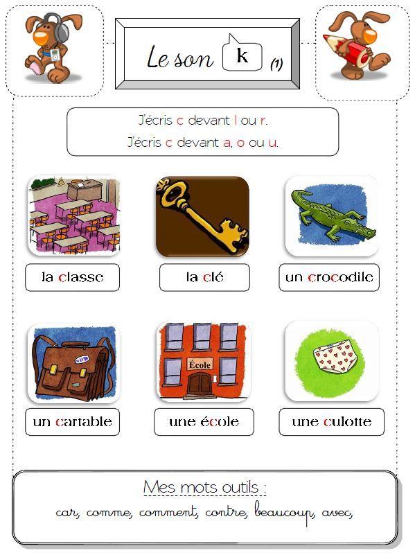Sons Ch S K Et Z Lecture En Maternelle Classe Ce2 Enseignement Du Francais