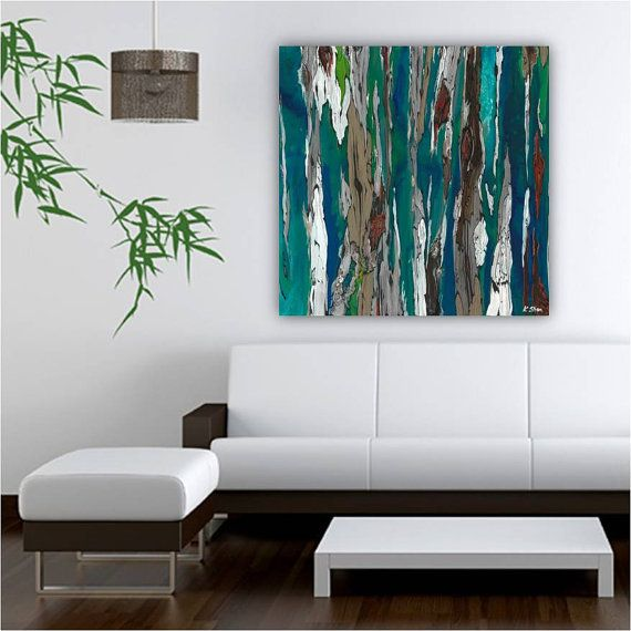 Blue Abstract Wall Decor : Very large teal wall art print abstract landscape trees
