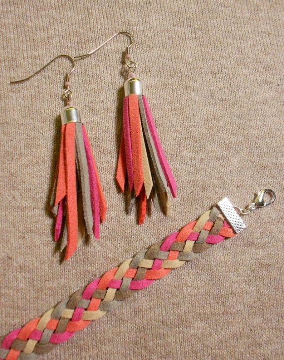 leather earrings and bracelet